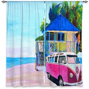 Decorative Window Treatments | Markus Bleichner - Pink Surf Bus l | VW Bus Beach House Ocean