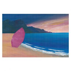 Decorative Floor Covering Mats | Markus Bleichner - Pink Surfboard | beach coast ocean surfing