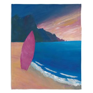 Decorative Fleece Throw Blankets | Markus Bleichner - Pink Surfboard | beach coast ocean surfing