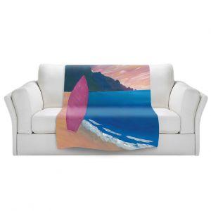 Artistic Sherpa Pile Blankets | Markus Bleichner - Pink Surfboard | beach coast ocean surfing