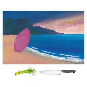 Artistic Kitchen Bar Cutting Boards | Markus Bleichner - Pink Surfboard | beach coast ocean surfing