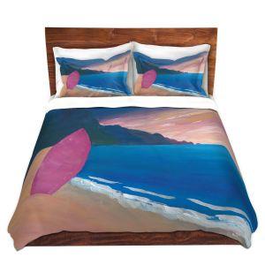 Artistic Duvet Covers and Shams Bedding | Markus Bleichner - Pink Surfboard | beach coast ocean surfing