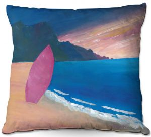 Decorative Outdoor Patio Pillow Cushion | Markus Bleichner - Pink Surfboard | beach coast ocean surfing