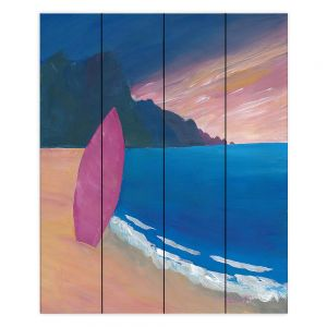 Decorative Wood Plank Wall Art | Markus Bleichner - Pink Surfboard | beach coast ocean surfing