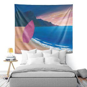 Artistic Wall Tapestry | Markus Bleichner - Pink Surfboard | beach coast ocean surfing