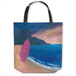 Unique Shoulder Bag Tote Bags | Markus Bleichner - Pink Surfboard | beach coast ocean surfing