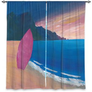 Decorative Window Treatments | Markus Bleichner - Pink Surfboard | beach coast ocean surfing