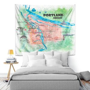 Artistic Wall Tapestry   Markus Bleichner - Portland Oregon Map   Cities Maps Travel