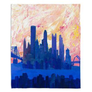 Decorative Fleece Throw Blankets | Markus Bleichner - Portland Skyline | cityscape silhouette oregon