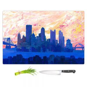Artistic Kitchen Bar Cutting Boards | Markus Bleichner - Portland Skyline | cityscape silhouette oregon