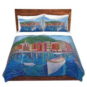 Artistic Duvet Covers and Shams Bedding   Markus Bleichner - Portofino Harbor   Cities Countries Beach