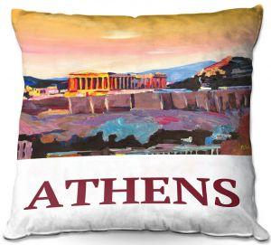 Throw Pillows Decorative Artistic | Markus Bleichner - Poster Athens | greece city town ancient building parthenon