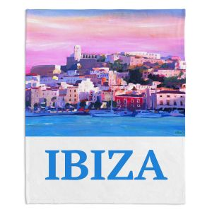Decorative Fleece Throw Blankets   Markus Bleichner - Poster Ibiza   city town coast harbor