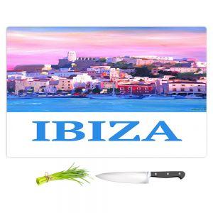 Artistic Kitchen Bar Cutting Boards   Markus Bleichner - Poster Ibiza   city town coast harbor