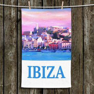 Unique Bathroom Towels | Markus Bleichner - Poster Ibiza | city town coast harbor