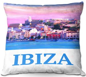 Decorative Outdoor Patio Pillow Cushion | Markus Bleichner - Poster Ibiza | city town coast harbor