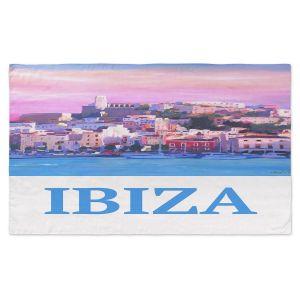 Artistic Pashmina Scarf | Markus Bleichner - Poster Ibiza | city town coast harbor