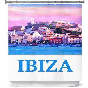 Premium Shower Curtains | Markus Bleichner - Poster Ibiza | city town coast harbor