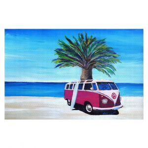 Decorative Floor Coverings | Markus Bleichner - Red Surf Bus ll | VW Bus Beach Palm Trees Ocean