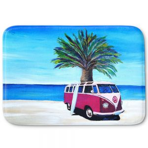 Decorative Bathroom Mats | Markus Bleichner - Red Surf Bus ll | VW Bus Beach Palm Trees Ocean