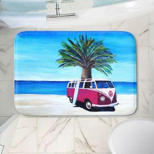 Decorative Bathroom Mats | Markus Bleichner - Red Surf Bus ll | VW Bus Beach Palm Trees Ocean