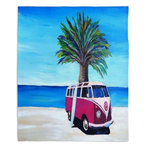 Decorative Fleece Throw Blankets | Markus Bleichner - Red Surf Bus ll | VW Bus Beach Palm Trees Ocean