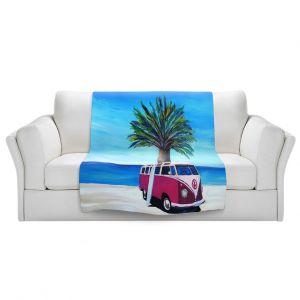 Artistic Sherpa Pile Blankets | Markus Bleichner - Red Surf Bus ll | VW Bus Beach Palm Trees Ocean
