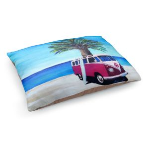 Decorative Dog Pet Beds | Markus Bleichner - Red Surf Bus ll | VW Bus Beach Palm Trees Ocean