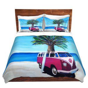 Artistic Duvet Covers and Shams Bedding | Markus Bleichner - Red Surf Bus ll | VW Bus Beach Palm Trees Ocean