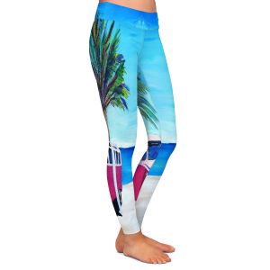 Casual Comfortable Leggings | Markus Bleichner - Red Surf Bus ll | VW Bus Beach Palm Trees Ocean