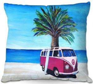 Throw Pillows Decorative Artistic | Markus Bleichner - Red Surf Bus ll | VW Bus Beach Palm Trees Ocean