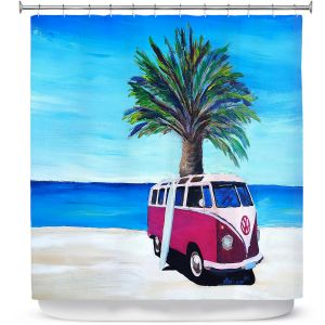 Premium Shower Curtains | Markus Bleichner - Red Surf Bus ll | VW Bus Beach Palm Trees Ocean
