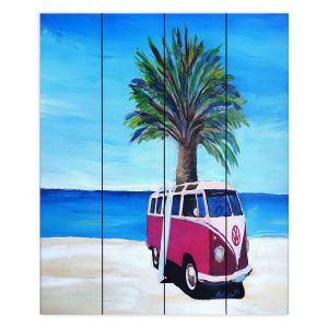 Decorative Wood Plank Wall Art | Markus Bleichner - Red Surf Bus ll | VW Bus Beach Palm Trees Ocean