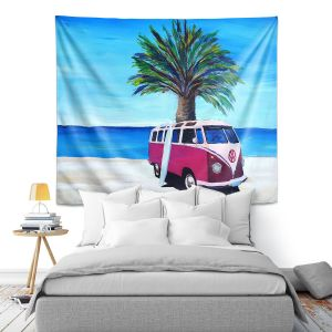Artistic Wall Tapestry | Markus Bleichner - Red Surf Bus ll | VW Bus Beach Palm Trees Ocean