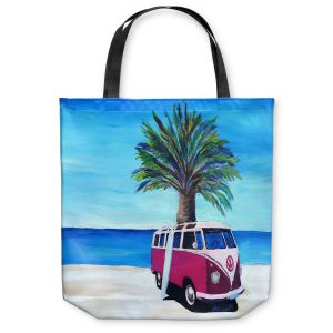 Unique Shoulder Bag Tote Bags | Markus Bleichner - Red Surf Bus ll | VW Bus Beach Palm Trees Ocean