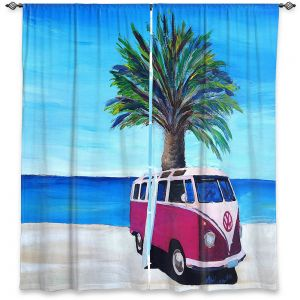 Decorative Window Treatments | Markus Bleichner - Red Surf Bus ll | VW Bus Beach Palm Trees Ocean