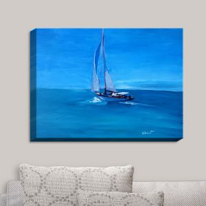 Decorative Canvas Wall Art | Markus Bleichner - Sailing Into The Blue I | Water Boat