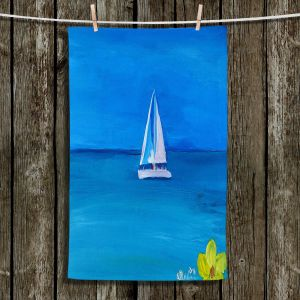 Unique Hanging Tea Towels | Markus Bleichner - Sailing Into The Blue ll | Water Boat