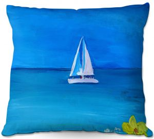 Decorative Outdoor Patio Pillow Cushion | Markus Bleichner - Sailing Into The Blue ll