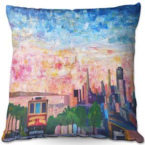 Decorative Outdoor Patio Pillow Cushion | Markus Bleichner - San Francisco Scene | Cities Trains
