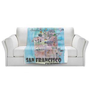 Artistic Sherpa Pile Blankets | Markus Bleichner - San Francisco Tourist 2 | map city simple