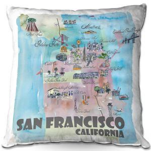 Decorative Outdoor Patio Pillow Cushion | Markus Bleichner - San Francisco Tourist 2 | map city simple