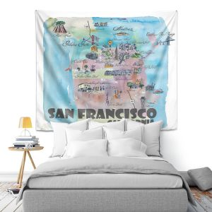 Artistic Wall Tapestry | Markus Bleichner - San Francisco Tourist 2 | map city simple