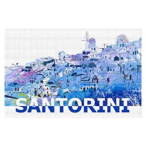 Decorative Floor Covering Mats | Markus Bleichner - Santorini Scissor Blue | cityscape simple village town