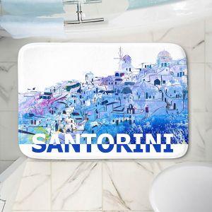Decorative Bathroom Mats | Markus Bleichner - Santorini Scissor Blue | cityscape simple village town