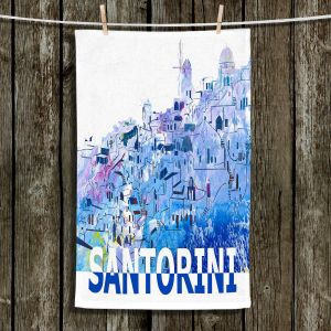 Unique Hanging Tea Towels | Markus Bleichner - Santorini Scissor Blue | cityscape simple village town
