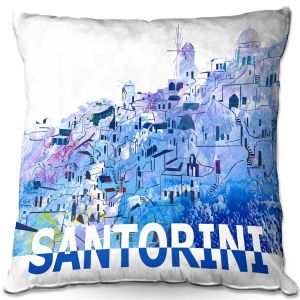 Decorative Outdoor Patio Pillow Cushion | Markus Bleichner - Santorini Scissor Blue | cityscape simple village town
