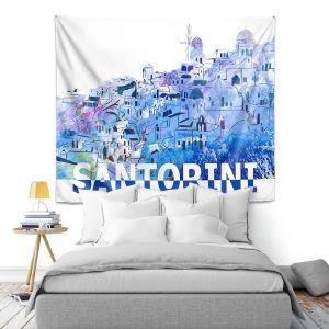 Artistic Wall Tapestry | Markus Bleichner - Santorini Scissor Blue | cityscape simple village town