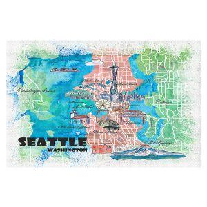 Decorative Floor Covering Mats | Markus Bleichner - Seattle Tourist Map 1 | Cities Maps Travel