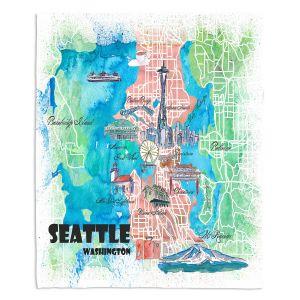 Decorative Fleece Throw Blankets | Markus Bleichner - Seattle Tourist Map 1 | Cities Maps Travel